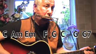My Back Pages - Dylan - easy chord guitar lesson - on-screen chords and lyrics - guitar/mouth organ