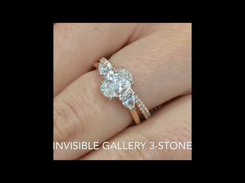 """Oval Diamond 3-stone """"Invisible Gallery"""" Engagement Ring"""