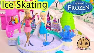Disney Frozen Queen Elsa's Winter Play Ice Skating Rink Playset With Mini Barbie Skate Doll Toy Vid