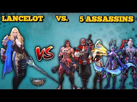 LANCELOT VS. 5 ASSASSINS | CAN HE KILL THEM ALL ?! FIGHTING AT LVL 4 NO ITEMS 1VS1 | MOBILE LEGENDS