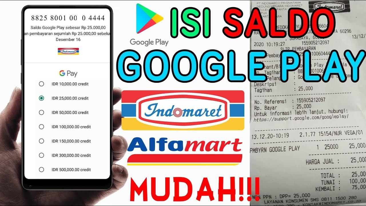 Cara Beli Saldo Google Play Di Indomaret Atau Alfamart Isi Saldo Play Store Dengan Mudah Youtube