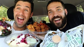 TRYING MEDITERRANEAN FOOD MUKBANG FOR FIRST TIME with JOSH PECK!!