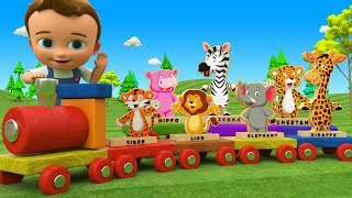 Wooden Toy Train Transport Animals Toy Set - Learn Animals Names for Children with Baby 3D Kids Edu