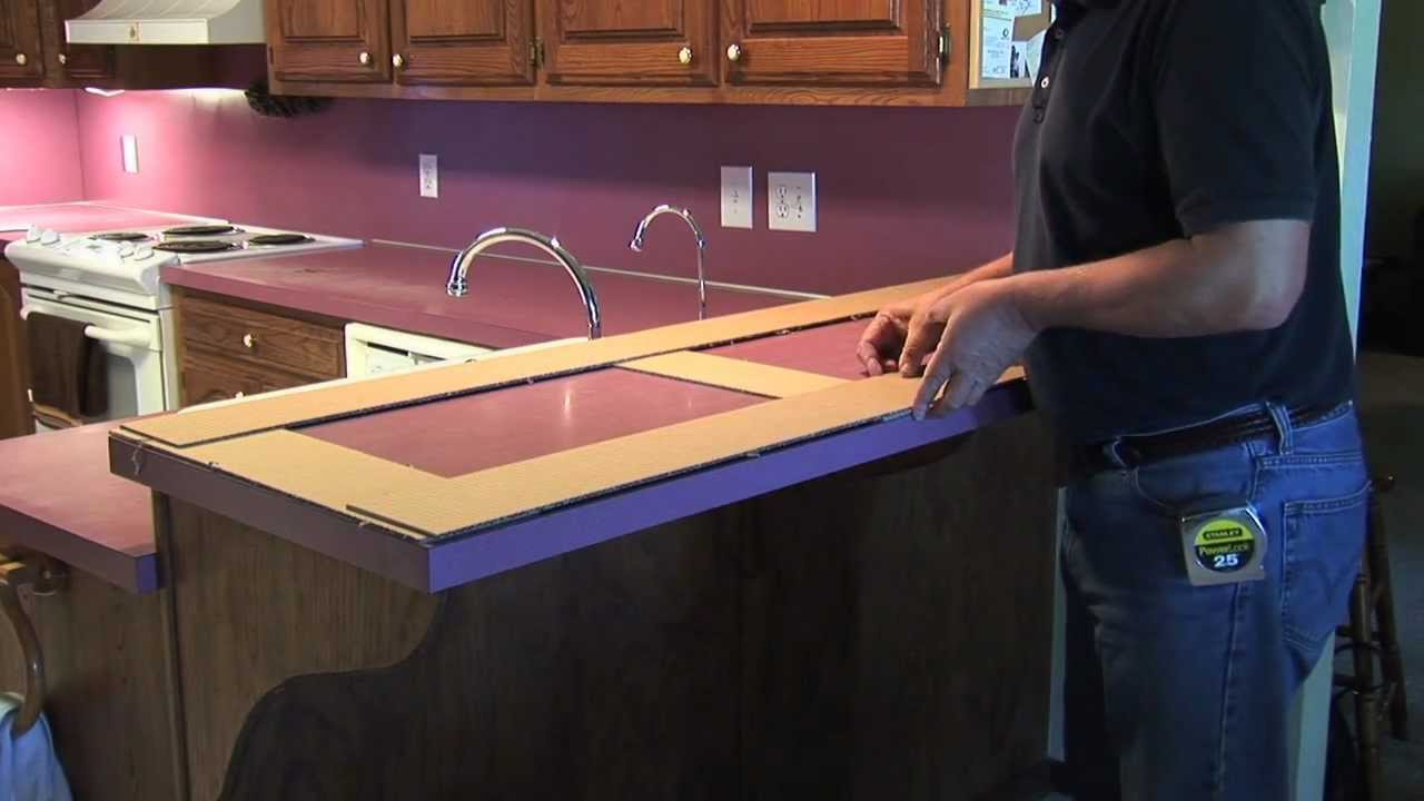 How to make a countertop template youtube for Kitchen worktop cutting template