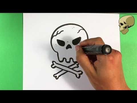 How to Draw Skull and Crossbones - Halloween Drawings - Easy Pictures to Draw