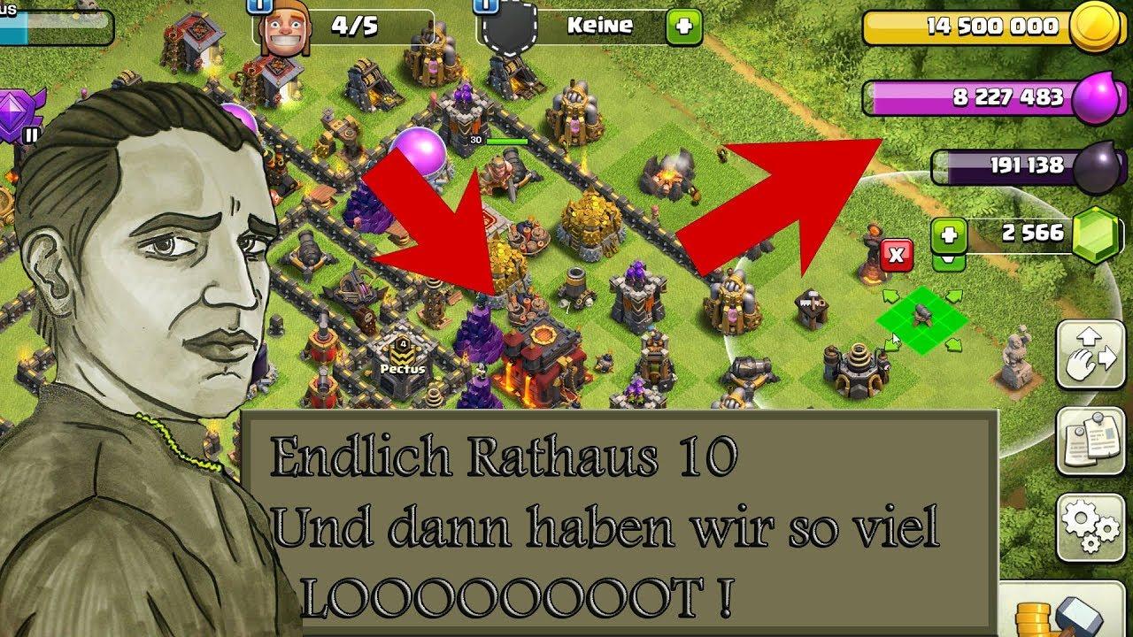 Rathaus 10 Endlich Und So Viel Loot Wow Clash Of Clans Youtube