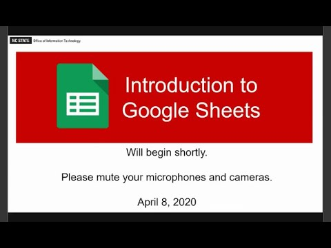 NC State:  Intro To Google Sheets