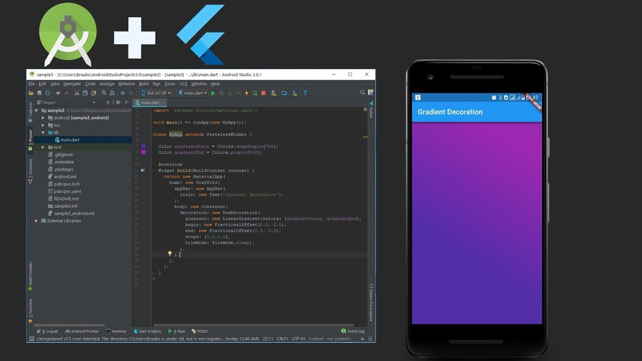 Flutter - Gradient background in Android Studio