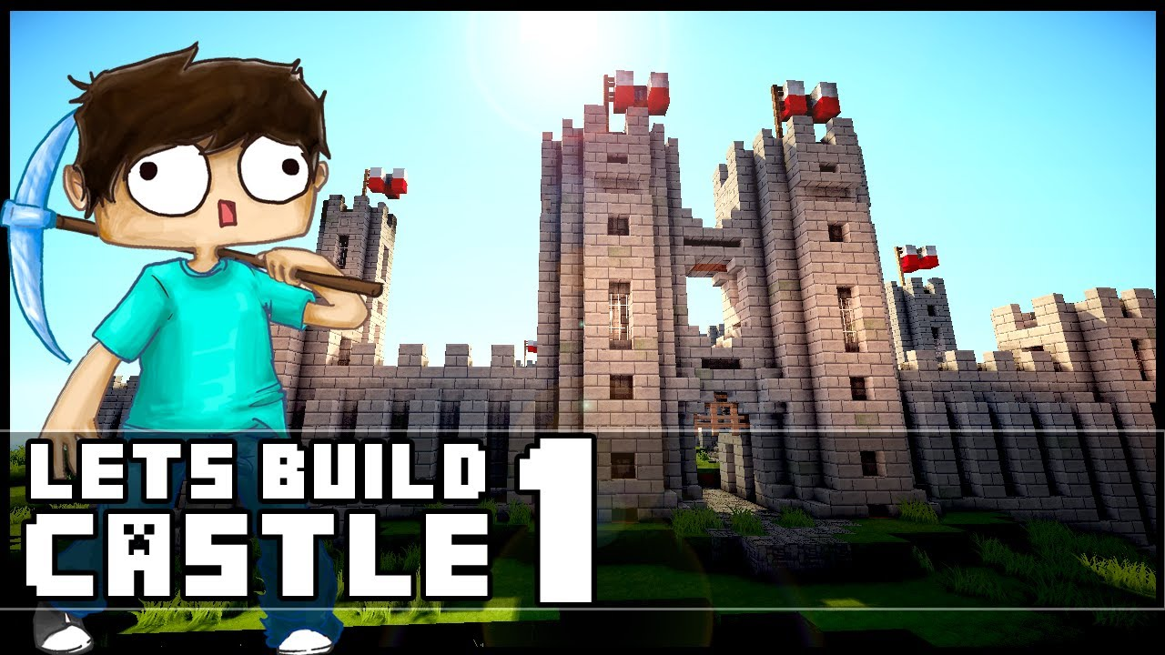 Minecraft Lets Build  Castle - Part 1