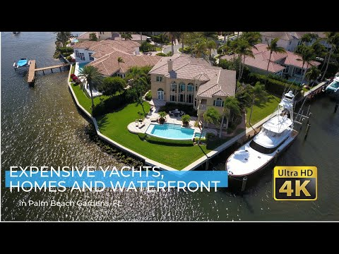 Expensive Yachts, Homes and Waterfront property in Palm Beach Gardens, FL - Drone Footage