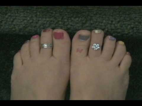 rainbow toenails polish tattoo