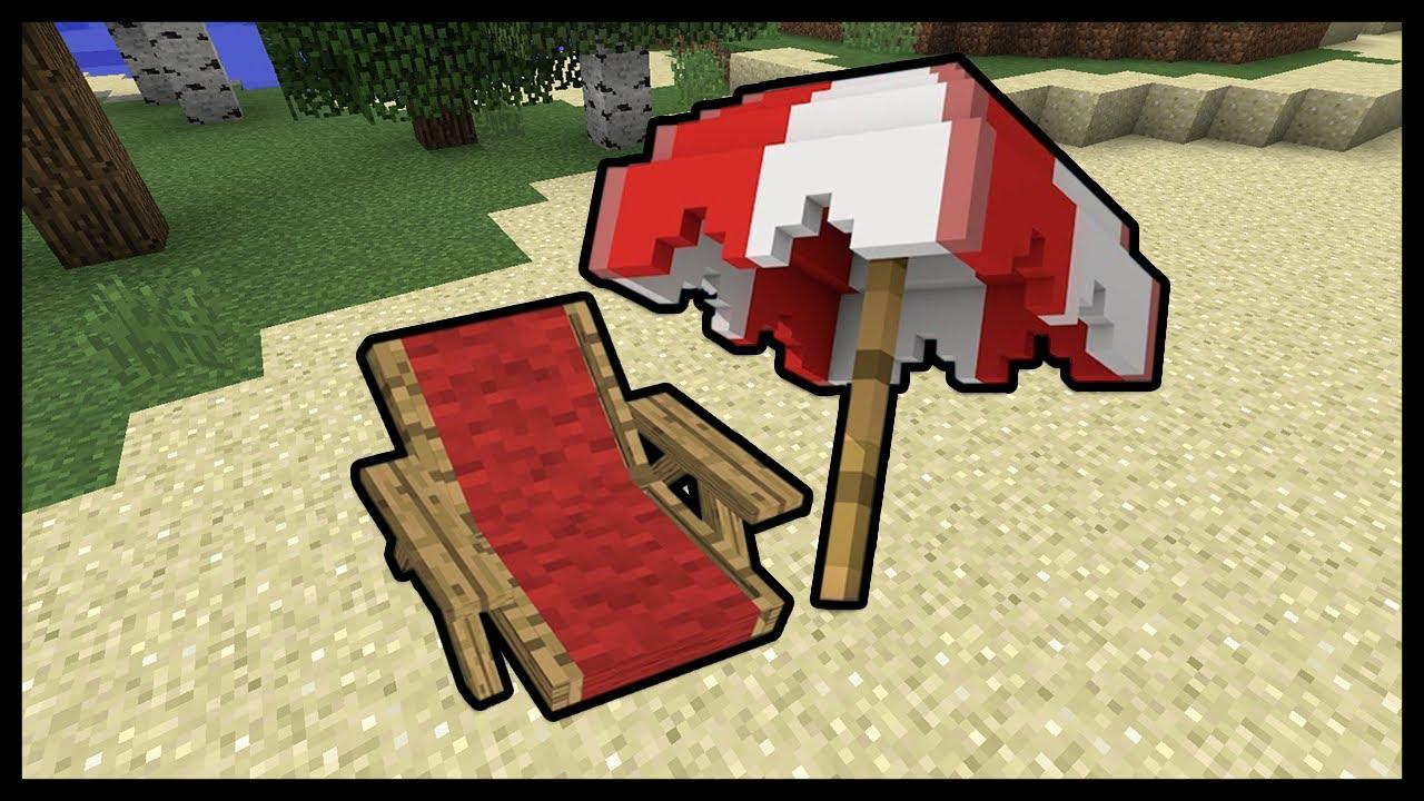Come Costruire Una Sdraio.Minecraft Come Fare Sdraio E Ombrellone Youtube