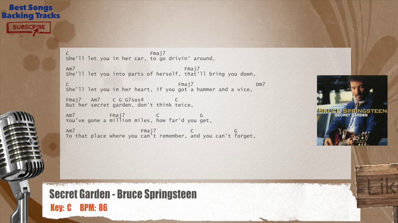 Secret Garden Bruce Springsteen Vocal Backing Track With Chords And Lyrics Youtube