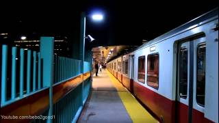 MBTA Subway: Four Red Line Trains at Charles St / MGM @ Night