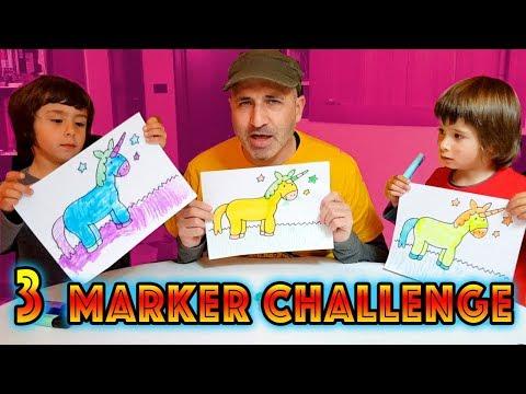 3 MARKER CHALLENGE Dani y Evan pintan unicornios, muffins, y burguers KAWAII