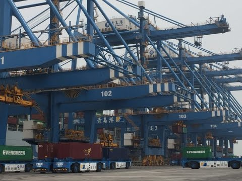 Asia's first automated container terminal, at Port of Qingda