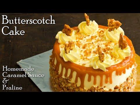 Butterscotch Cake Recipe   Homemade Butterscotch Sauce & Praline  Caramel Cake ~ The Terrace Kitchen