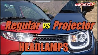 Projector vs regular headlights in Hindi | MotorOctane