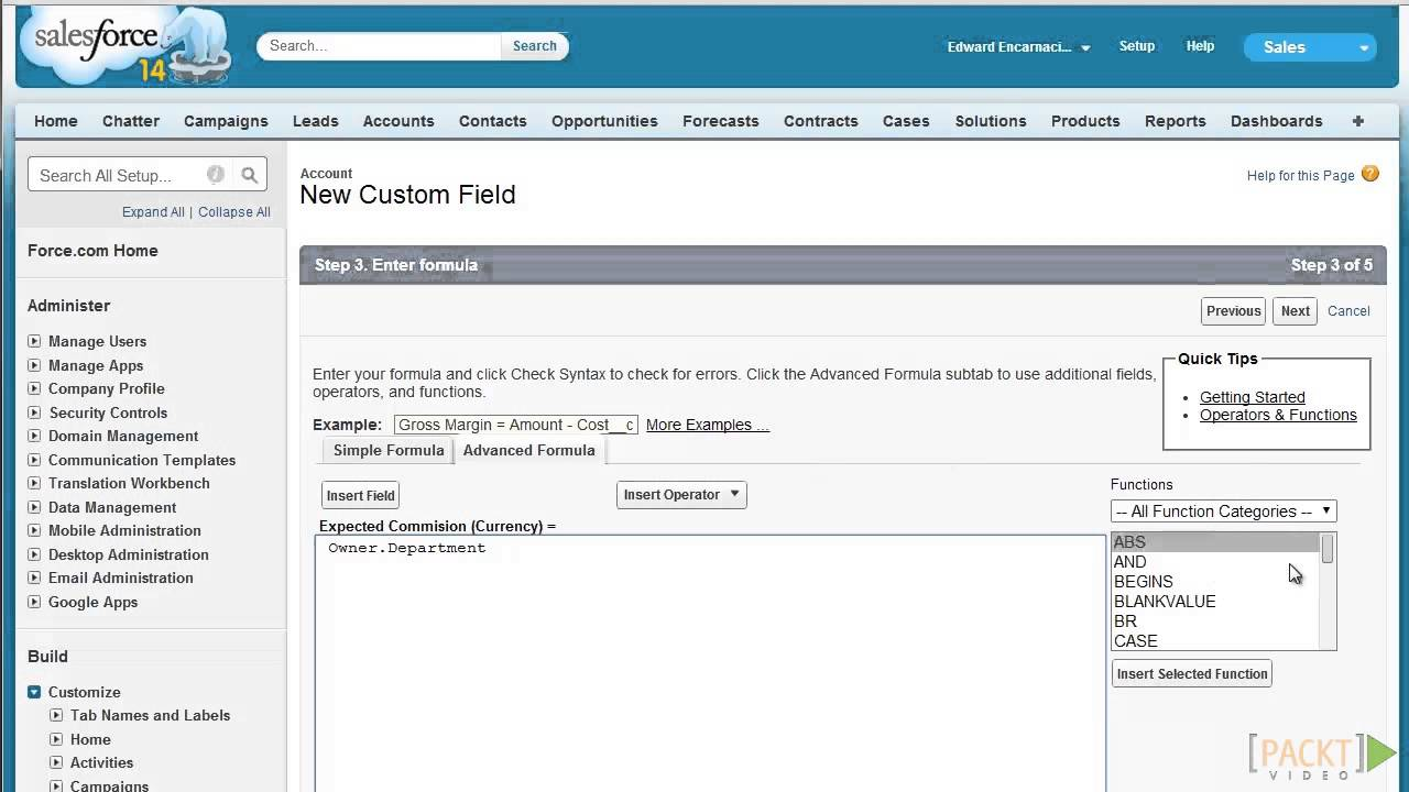 Salesforce CRM Tutorial: Creating Formula Fields | packtpub com