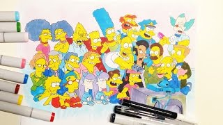 Speed drawing: the Simpsons (Симпсоны, все герои) copic sketsh