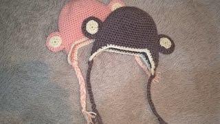 Шапочка крючком обезьянка для младенца