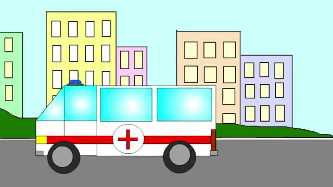 Ambulance cartoon for children. Geometric shapes for children ...