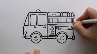 How to Draw a Cartoon Fire Engine (Fire Truck)
