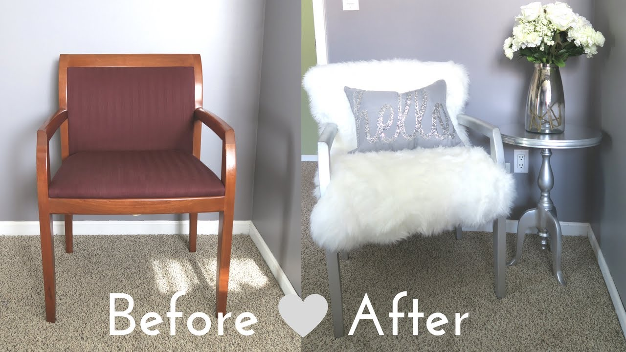 Faux Fur Chair Cover Beach Towel Clips Diy On A Budget For Under 50 Youtube