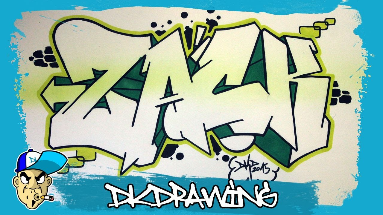 How to draw graffiti names zack 7 youtube