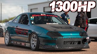 1300HP Integra?! (FWD 4cyl on 55PSI) + 1300HP Evo X (Worlds Fastest) + ROWDY Stick Shift Racing!