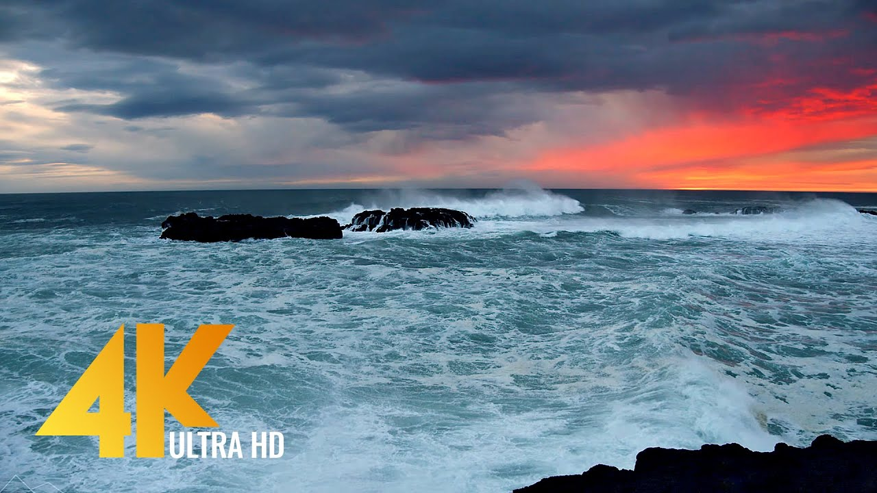 8 HOURS of Ocean Waves White Noise for Sleeping - Perfect Sunset over the Shores of Iceland in 4K