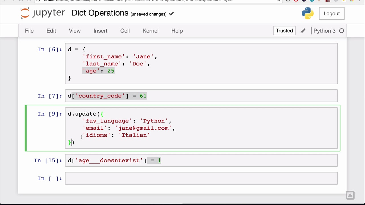 Dict operations Lesson - Base Python Track
