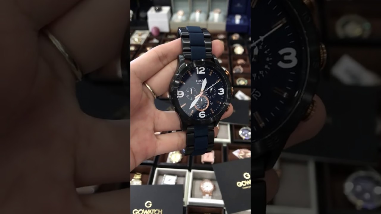 a9a86eff279 Fossil JR1494 Men s Nate Black   Blue Stainless Steel Watch 50mm Chrono