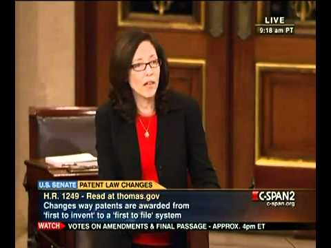 Senator Maria Cantwell speaks out against the America Invents Act 9/8/2001