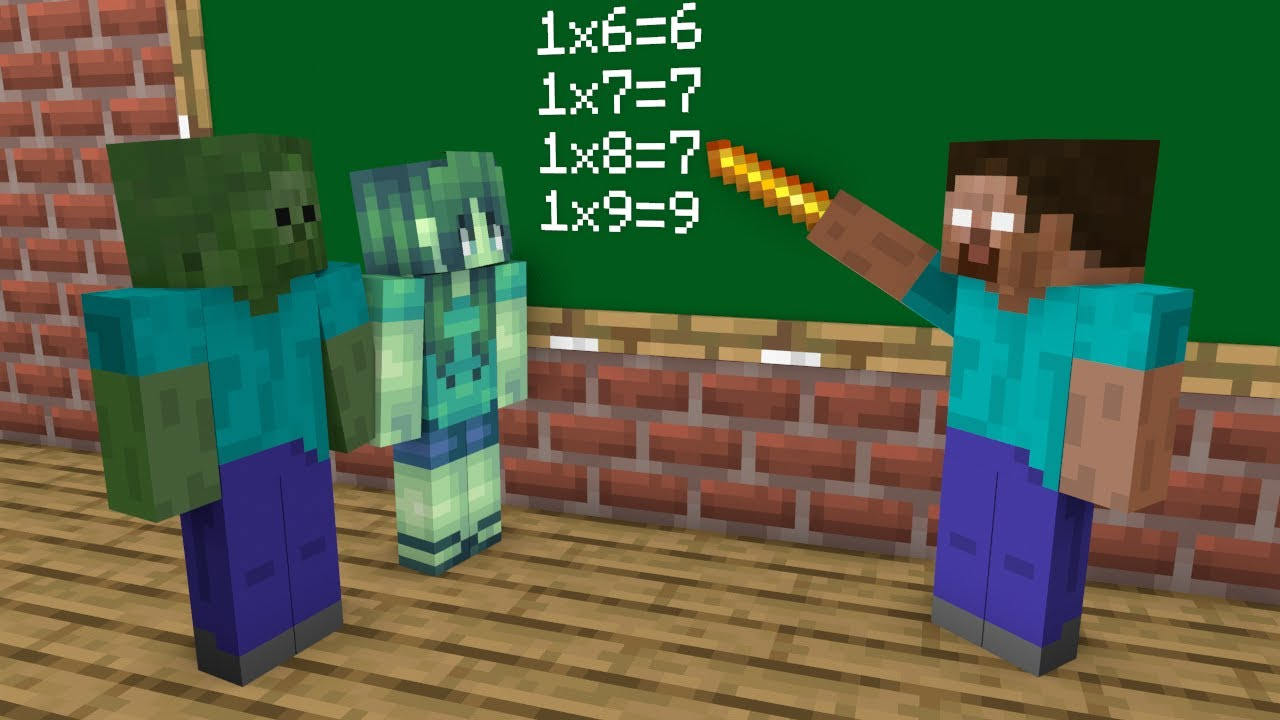 Monster School : Zombie Girl and Zombie Boy Life - Minecraft Animation