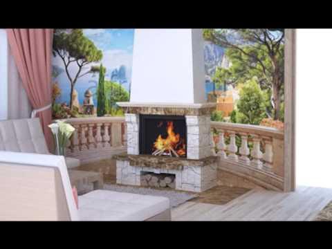 ПереДелкино гостинная с камином в загородном доме