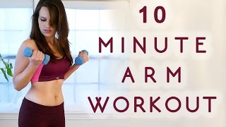 Beginners Workout for Toned, Sexy Arms, 10 Minute Quick Easy Fitness, Lean Arm Exercises at Home