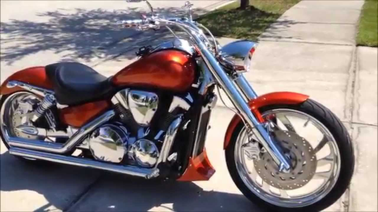 my 2006 honda vtx 1300c candy orange 240 fat tire kit 21 front mimic wheel youtube [ 1280 x 720 Pixel ]