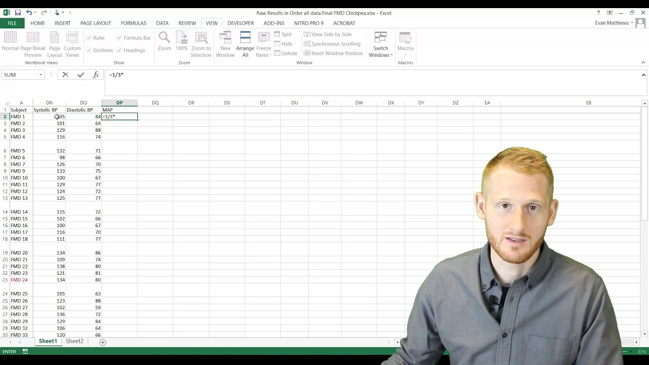 Basic Formulas In Excel Mean Arterial Pressure Example Youtube