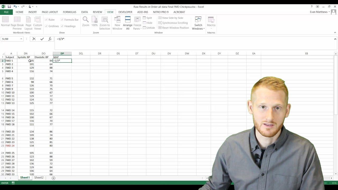 Basic Formulas In Excel Mean Arterial Pressure Example Youtube