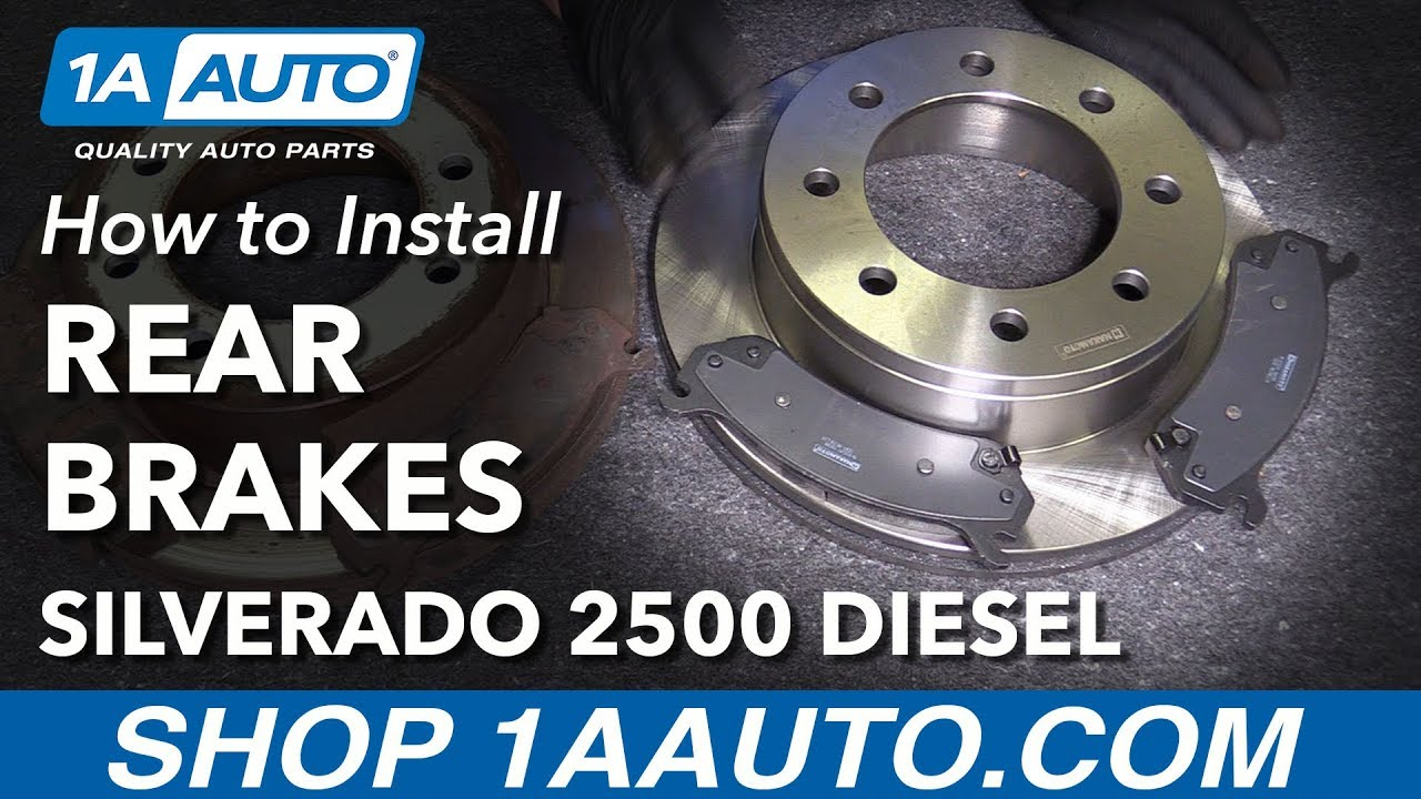 how to replace rear brake pads rotors 05-10 chevy silverado 2500 hd diesel