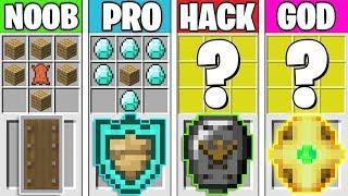 Minecraft Battle: SHIELD CRAFTING CHALLENGE! NOOB vs PRO vs HACKER vs GOD in Minecraft Animation
