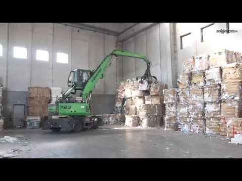 SENNEBOGEN 723 material handler in paper waste recycling Italy