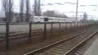 Ukrainian Railways. New Regional diesel-train DEL-02-004 is departing from Vinnytsia