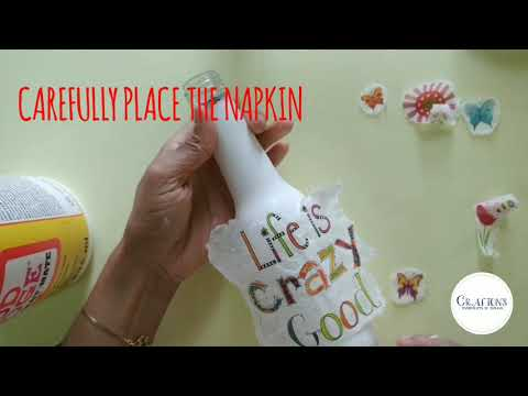 💜*! Easy Decoupage Tutorial For BEGINNERS | Decoupage Glass Bottle | DIY Bottle Art ¡*💜