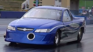 C&V PERFORMANCE V8 TURBO COMMODORE UTE 7.56 @ 158 MPH SYDNEY DRAGWAY 6.3.2014