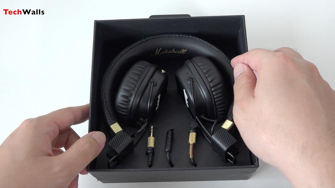 7b5ec287427 Marshall Major II Bluetooth On-Ear Headphones Unboxing - YouTube