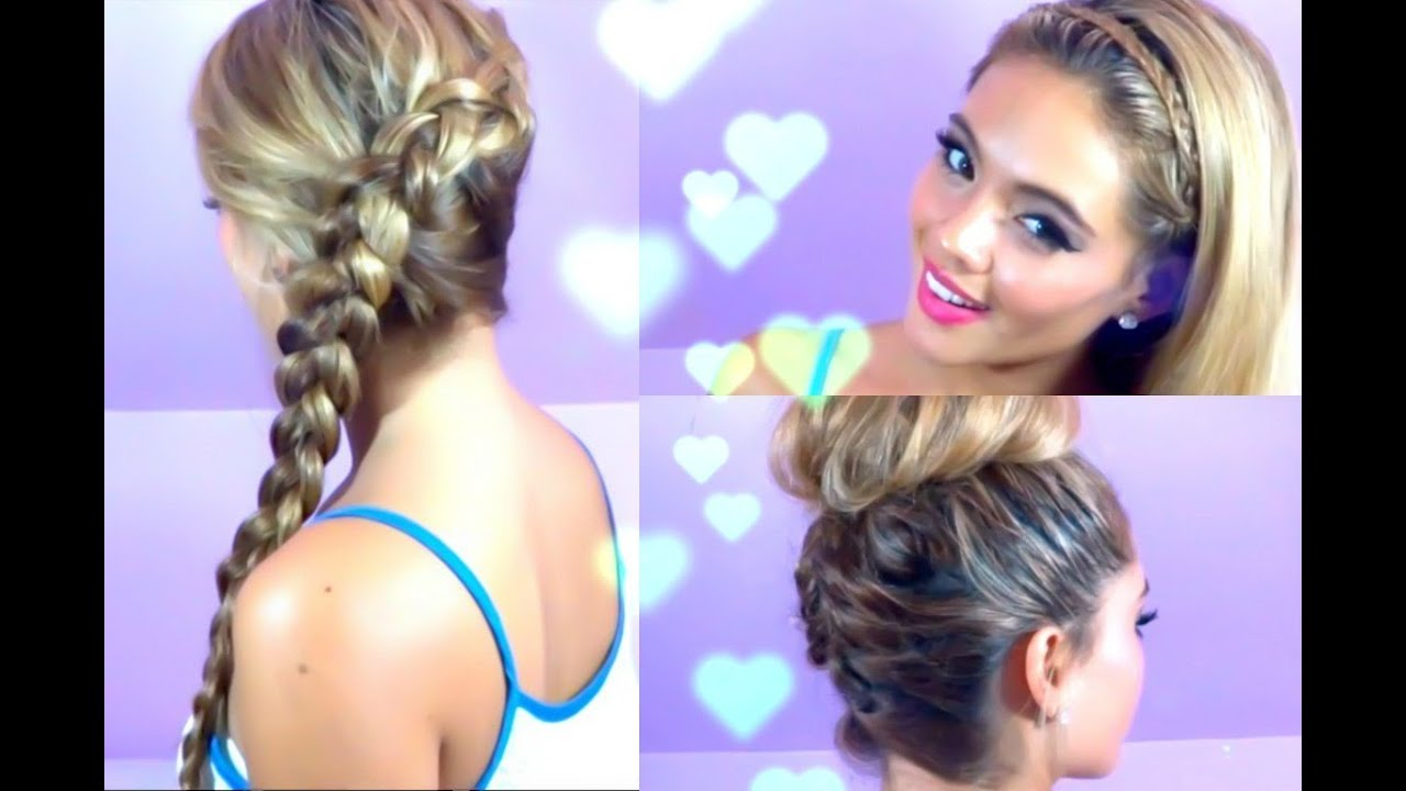 3 Quick and Easy Hairstyles (Summer Hair, Braided Hair) - YouTube