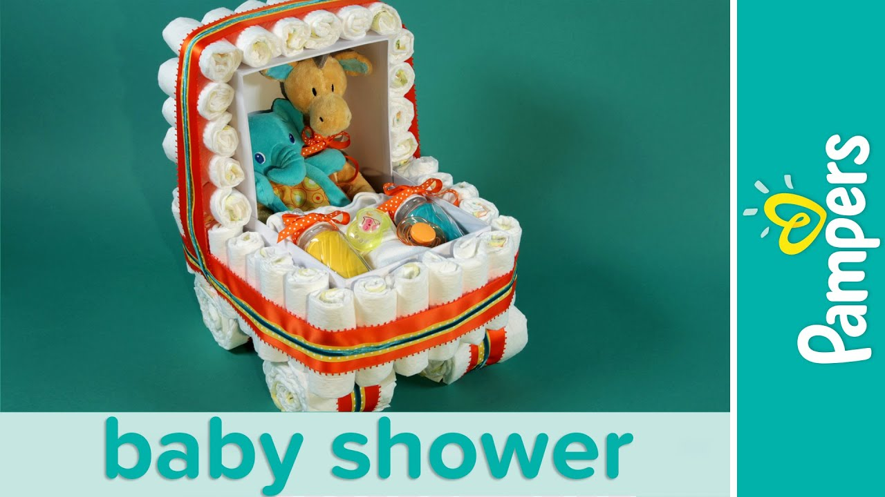 How To Make A Stroller Diaper Cake Pampers Baby Shower Ideas Youtube