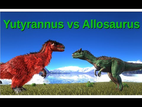 Yutyrannus vs Allosaurus (and Rex?) || ARK: Survival Evolved